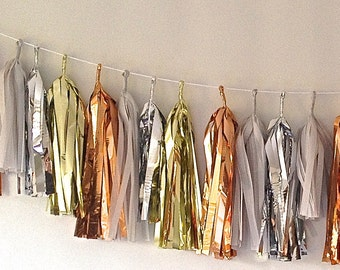 A Happy NEW Year Vintage Inspired Copper, Gold, Silver 27 Sparkle & Tissue Tassel Garland