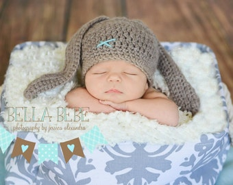Happy Baby Boy Bunny Hat - Made to Order