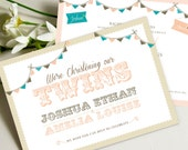 Twin Christening PRINTABLE Invitations as Jpeg or PDF