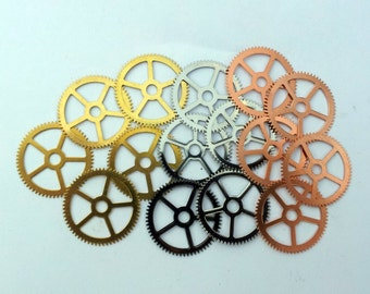 Steampunk Watch pieces and parts Clock gears - 15 Large copper, silver, brass Gears Cogs Wheels 25mm