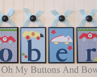 Hanging Name Letters . Nursery Decor . Baby Name Blocks . Nursery Wall Decor . Roadster Cars . Classic Cars