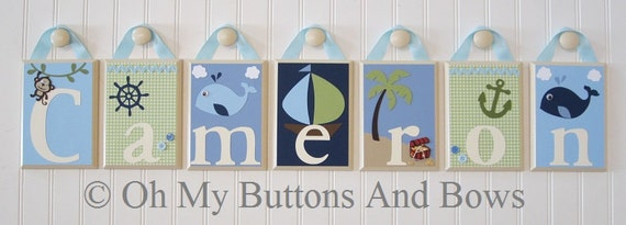 Hanging Name Letters . Name Blocks . Wall Letters . Nursery Room Decor . Nursery Name Blocks. Nautical . Beach . Whale