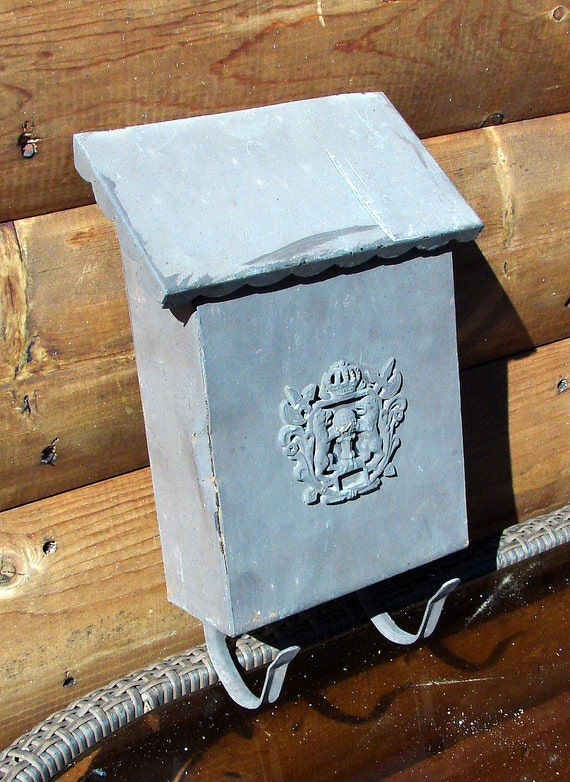 Wall Decor Mailbox : Old vintage metal mailbox great wall decor flower by