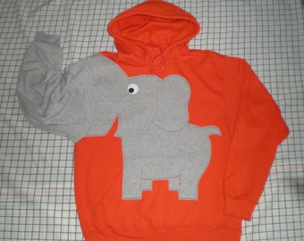 Orange elephant HOODIE, trunk sleeve, Dark Orange elephant shirt, UNISEX adult Medium, elephant sweathshirt