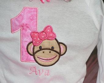 Pink Sock Monkey Embroidered Birthday Shirt