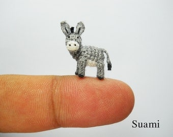 Miniature Donkey 0.6 Inch - Micro Crochet Animals - Made To Order