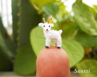 0.4 Inch Micro Goat In Tiny Dome - Tiny Amigurumi Miniature Crochet Stuff Animal - Made To Order