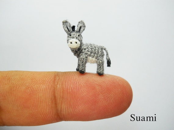 Miniature Donkey 0.6 Inch Micro Crochet Animals Made To