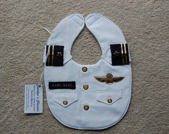 Military Dress Whites Bib  -- An Officer and Gentleman Bib -- Military Baby