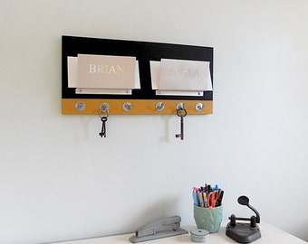 PERSONALIZED MAIL ORGANIZER: Wall Mount Couples Mail Holder Modern Two Tone  with Key Hooks,