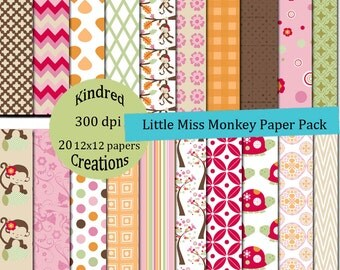 Little Miss Monkey Digital Paper Pack 12x12 For Personal or Small Business Use Scrapbooking, invites