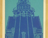 Southeast Lighthouse Card - 4 pack - blue ink on blue paper - handmade lino-cut print