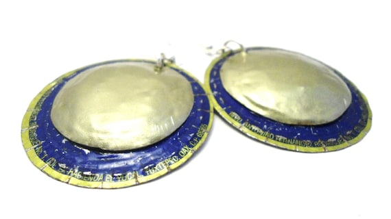 electric blue circles upcycled bottlecap earrings
