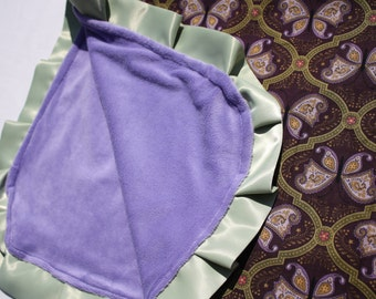 Purple butterfly satin trim blanket