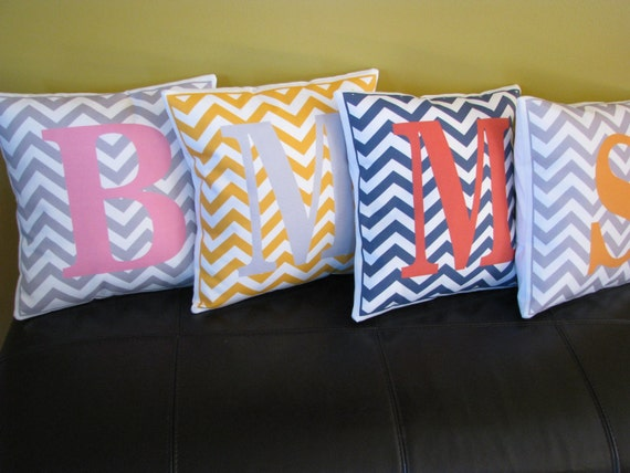 Personalized pillow initial chevron pattern