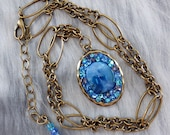 Mother of Pearl Necklace, Antique Gold Chain Necklace, Blue Rhinestones Necklace, OOAK Pendant, FREE SHIPPING