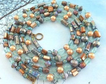 SALE ~~ Long Beachy Bead Necklace, Glass Mother of Pearl Plastic Bead Necklace, Free US Shipping