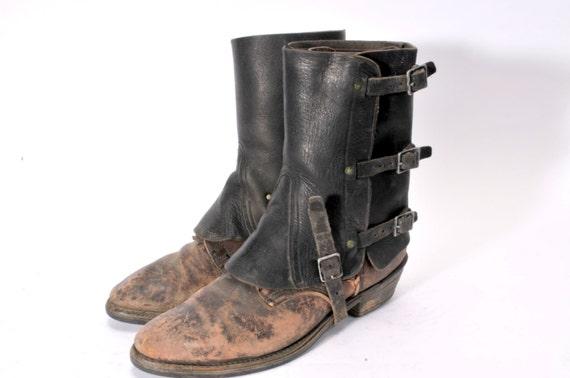 Vintage Steampunk Leather Spats V
