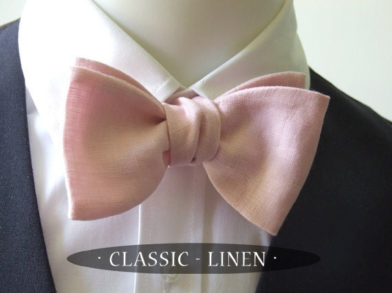 Linen Bow Tie, sugar pink  colour, freestyle, mens self tie bow tie adjustable mans bowtie ships worldwide