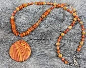 Orange Shell Necklace - Banded Jasper Pendant - Orange And Yellow - Shell Heishi Necklace - Gift For Her - Beaded Necklace - Orange Necklac