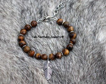 Tiger Eye Bracelet With Silver Feather - Beaded Feather Bracelet - Semiprecious Gemstone Bracelet - Natural Brown Gemstone - Two Feathers