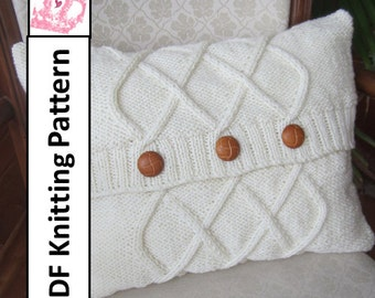 Cable knit pillow cover, knit pattern pdf, Triple Diamond Cable aran pillow cover in two sizes 12x16 and 16x16 - PDF KNITTING PATTERN