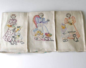 Vintage Linen Towels, Hand Embroidered Linen Towels, Beautiful Towels with Mother Child and Cat
