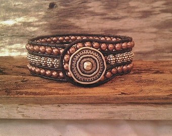 Leather Wrap Cuff Bracelet with Tibetan Silver and Copper Bead