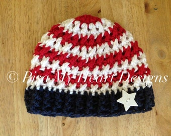 American Flag Beanie - Newborn Crochet Hat Photo Prop - Memorial Day, 4th of July, Veteren's Day