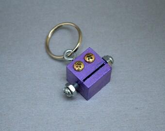 Metallic Purple Robot Zipper Pull, Key Chain, Functional Art, Back to School