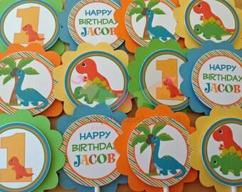 Set of 12 Personalized Dinosaur Cupcake Toppers - Dinosaur Birthday -Dino Party -Dinosaur
