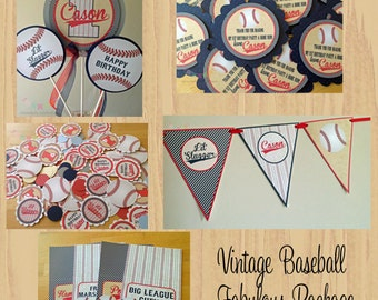 Fabulous Vintage Baseball Collection Party Package -Baseball Birthday Package -