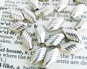 Tibetan silver bead,shuttle bead, antique silver bead, 20 pcs