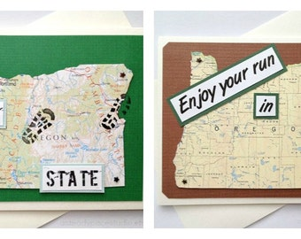 Oregon - Run (or RAN) That State or Enjoy Your Run in Oregon - Handmade Running Greeting Card - for Marathon, Half-Marathon, 10K, 5K Runner