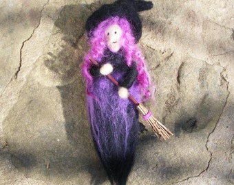 Hanging Purple Halloween Witch with her Broomstick