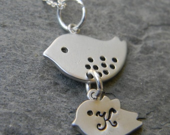 Personalized Mother and Baby Bird  Necklace in Sterling Silver