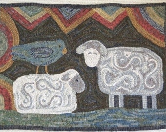 "Rug Hooking Pattern, Two Sheep and Bird, 24"" x 36"", J619, Primitive Folk Art Sheep Design, Primitive Rug Hooking"