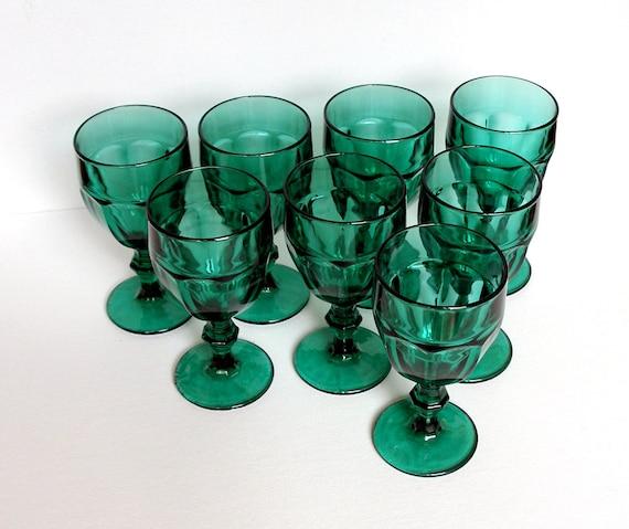 Emerald Green Goblets Set Of 8 Vintage Stemware By