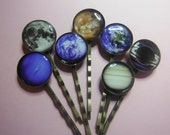 20 x  WHOLESALE   Galaxy Universe Planetary Hair Clips. (10 pairs)