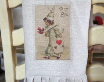 French Clown Vintage Valentine Image - LIttle Girl