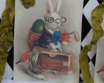 Vintage Easter Bunny Rabbit Tag - Green Seam Binding
