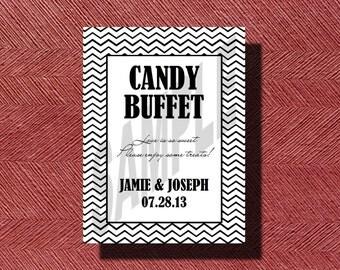 Chevron Wedding Candy Buffet Sign