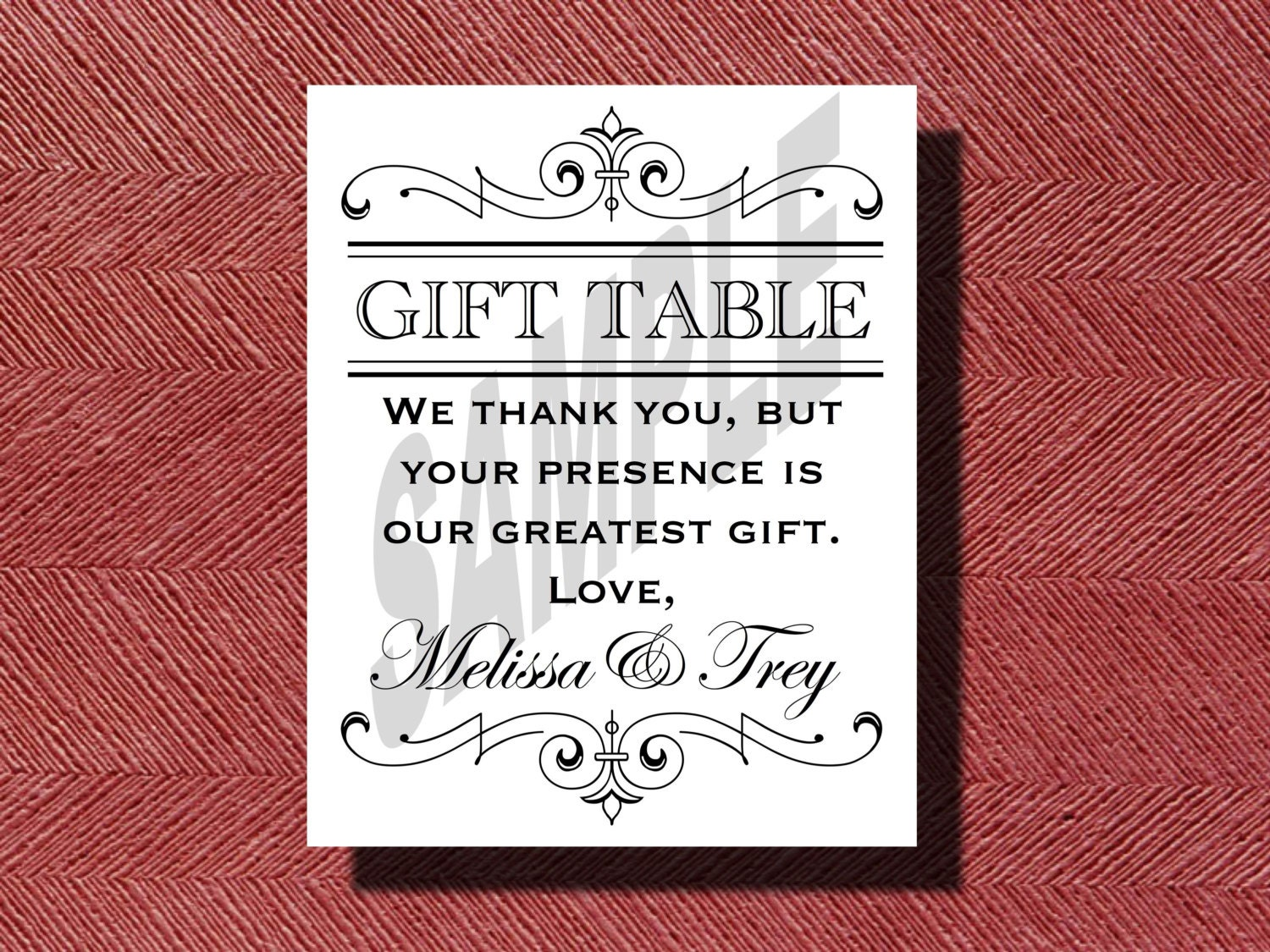 Printable wedding reception gift table sign for Table 6 gift card