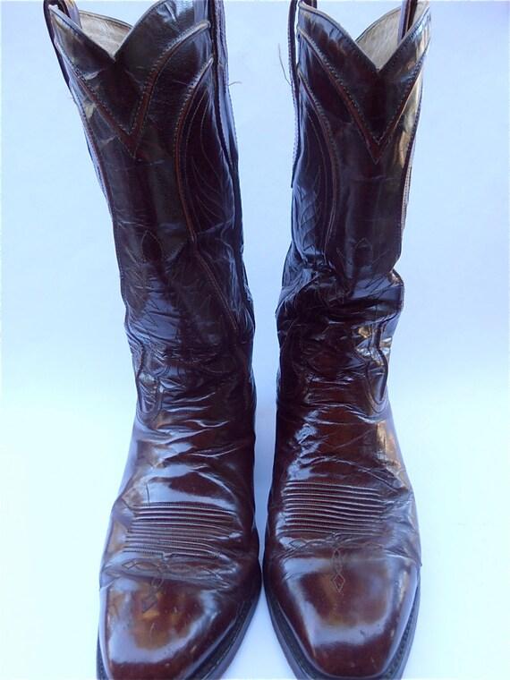 Vintage Burgundy Mens Cowboy Boots Maroon By Villacollezione