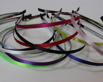 5 Pcs-Ribbon Lined Metal Headbands 5mm-Wholesale Headband-DIY-Thin Headband-Hair Accessories-wholesale headband supply