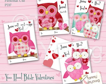 owl valentines cards for kids scripture valentines diy printable valentines valentines for girls - Religious Valentine Cards