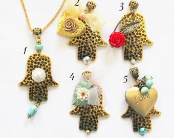Hamsa necklace, Evil eye necklace, gold Hamsa, Gold necklace, Hamsa charm necklace