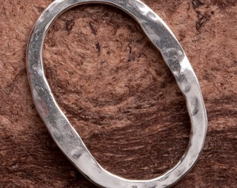 Sterling Silver Handcrafted Finding hammered oval B94ss