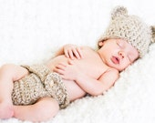 Crochet Hat Pattern  -Bear Hat AND Diaper Cover - Newborn Size