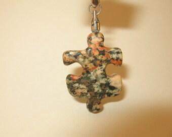 RA63 Autism Awareness Puzzle Piece Rock Pendant